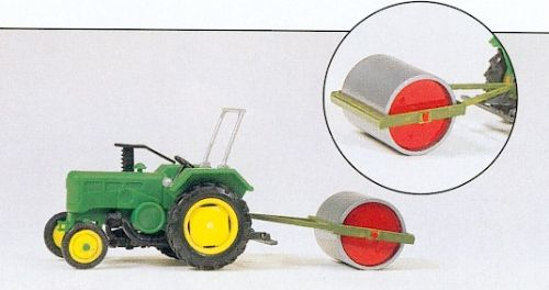 Preiser 17929 : HO Scale Farm Tractor & Agricultural Roller